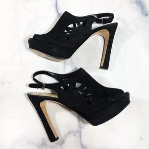 Marc Fisher Trinaa Black Suede Peep Toe Heels